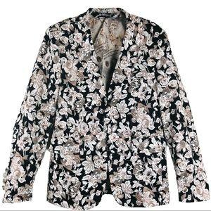 Allegra K black white rose floral pocket blazer